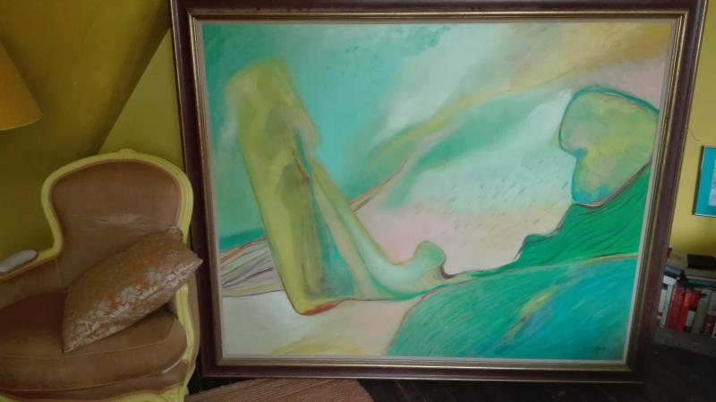 schilderij blauw, groen, geel gerrius blok