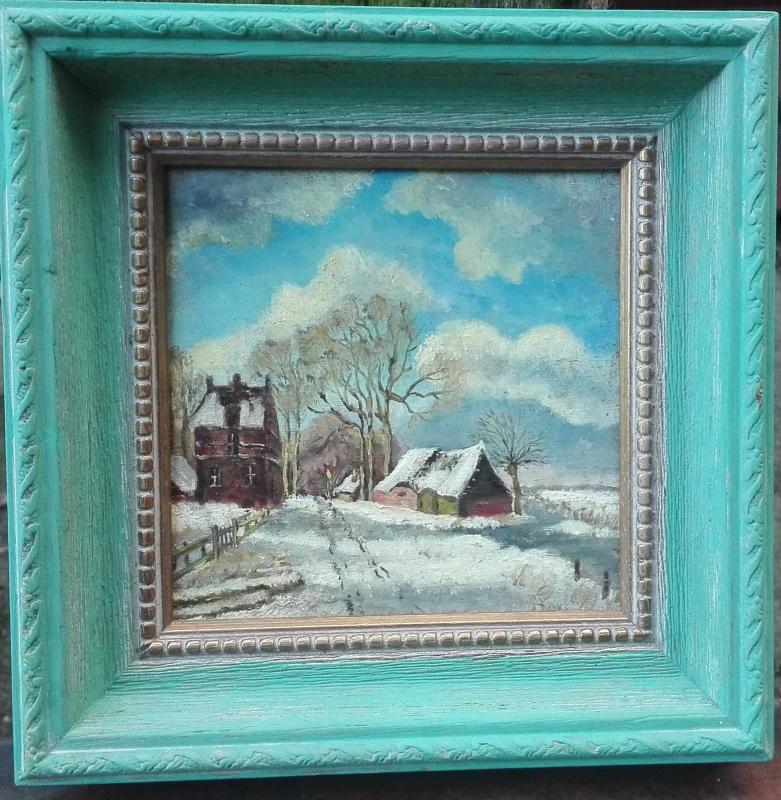 Olie verf, schilderijtje winters tafereel,turquoise houten lijst
